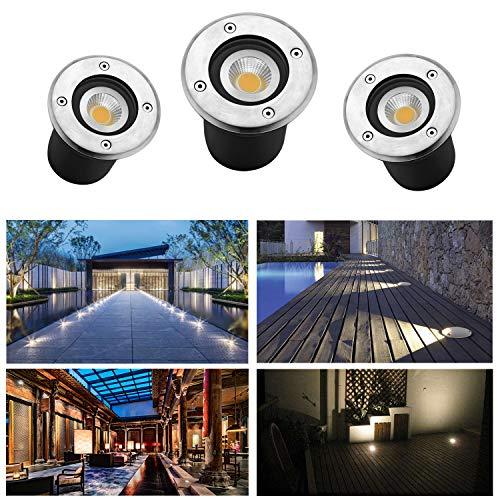 3er 3W LED Bodeneinbaustrahler IP65 230V AC85-265V 270Lumen mit LED GU10 Gartenbeleuchtung Lampe Außen Warmweiß 3000K Rund für Wegbeleuchtung für Garten Terrasse Treppen Garage Platz