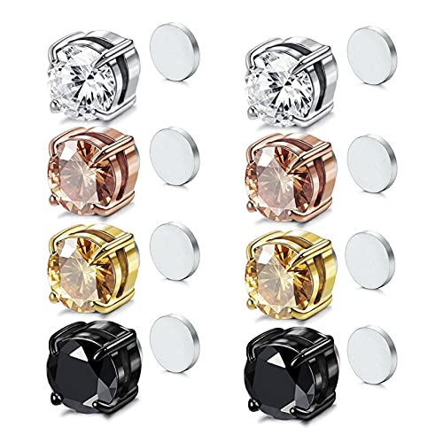4 pares de pendientes magnéticos de acero inoxidable, clip en pendientes de hombre, circonita cúbica 6/8 mm, Acero inoxidable,