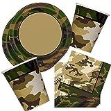 Camouflage Kindergeburtstag Deko Set 36-tlg, Tarnfarben-Tischdeko mit Geschirr