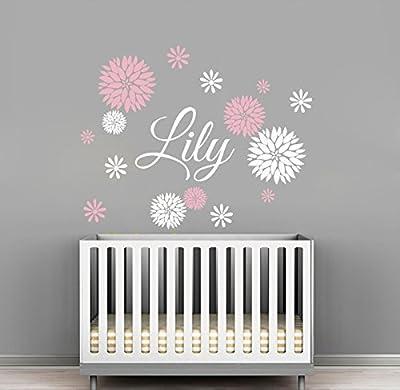 Custom Flowers Name Wall Decal - Girls Kids Room Decor - Nursery Wall Decals - Flower Decals for Girls Room (30Wx24H)