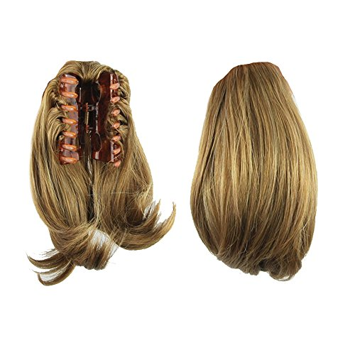 USIX 9.8' Claw Ponytail Handy Jaw Pony Tail Clip in Straight Hair Extension Nature Looking Heat-Resisting Ponytail Extension(B2005)