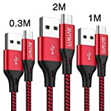 Micro USB Kabel, AVIWIS [3Pack 0.3M 1M 2M] Nylon Micro USB Schnellladekabel High Speed Android Handy Ladekabel für Samsung Galaxy S7/ S6/ J7/ Note 5,Xiaomi,Huawei, Nexus,Motorola,Kindle,Echo Dot