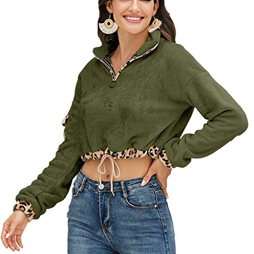 Hoodieswj Damen Kapuzenpullover Sweatshirt Freiliegendes Nabel Leopardenmuster Colorblock Kordelzug Reverspullover Damenoberteil,Army Green,S
