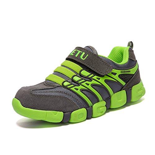 JINDENG Boys Girls Running Shoes Kids Sneakers Grade School Strap Hook&Loop Walking Footwear Easy On£¨Light Green,30£