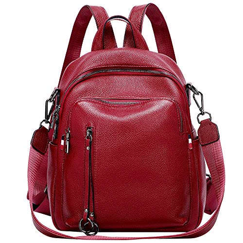 ALTOSY Fashion Genuine Leather Backpack Purse for Women Shoulder Bag Casual Daypack Medium (S9, Red Wine)