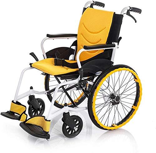 TYZXR - Silla de ruedas de 13 kg, plegable, portátil, ultraligera, para silla de transporte, 100 kg, cojín de apoyo de 45 x 41 cm, asiento cómodo, respaldo para sillas de ruedas, M, A