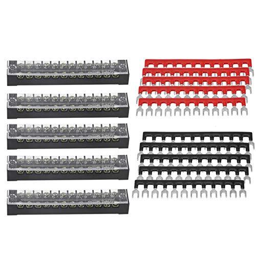 Bloques de terminales de tornillo Plástico Cobre Hierro 5 piezas Fila doble 12 posiciones 600V 15A Bloque de terminales de tornillo Tira de barrera de terminal preaislada para electrodomésticos Circui