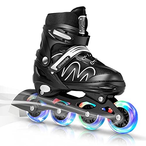 GYHHHM Inline Skates Kinder, 8 LED-Blinkräder, 26-42 Einstellbare Schuhgröße, Verstellbare Klingen Inliner Damen für Mädchen, Jungen und Jugendliche,Schwarz,L(37 42)
