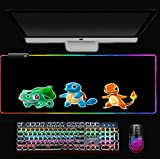 RGB Anime Mouse pad Pokemon Gaming Mouse pad Soft Non Slip Base Mouse pad, Mouse pad with USB Charging Hole E XL