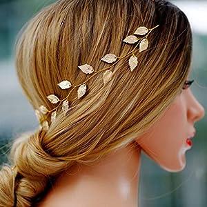 Yean - Diadema para novia, diseño de hojas doradas, para dama de honor y flores (39,6 cm) | DeHippies.com