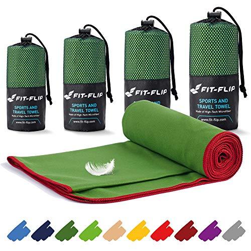 Fit-Flip Mikrofaser Handtuch Set – 16 Farben, viele Größen – Ultra leicht & kompakt – das perfekte Sporthandtuch, Strandhandtuch und Reisehandtuch (100x200cm, Dunkelgrün - Rot)