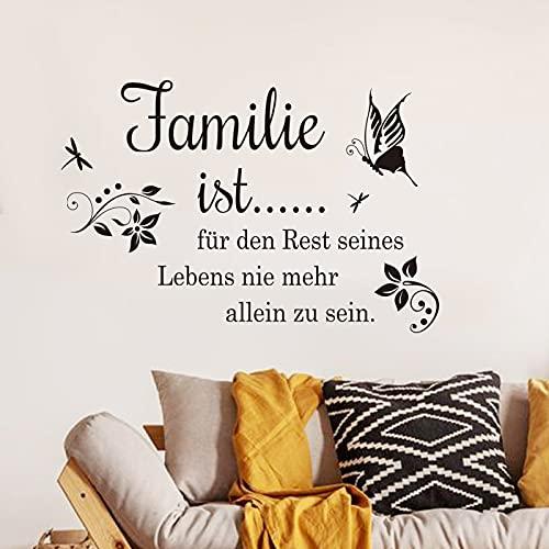 decalmile Wandtattoo Sprüche und Zitate Familie ist Schmetterling Wandaufkleber Schwarz Wandsticker Schlafzimmer Wohnzimmer Esszimmer Wanddeko