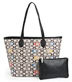 Womens Handbags All-over Printed Purses Satchel Shoulder Bag with Zipper Wallet