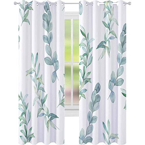 YUAZHOQI Thermal Insulated Blackout Curtain Watercolor Seamless Pattern witn Eucalyptus Branch Hand Drawn Illustration Floral Background 52' x 95' Window Curtains for Living Room