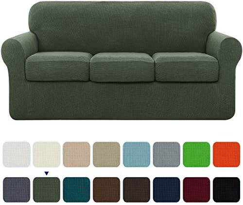 Best subrtex High Stretch Jacquard Slipcover with 3 Separate Cushion Common Couch Sofa Cover Coat for 3-S