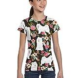 Hunter qiang Camisetas para niñas 10-12, Diseño Floral Perro Perro Samoyedo_469, M