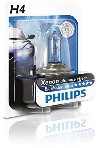 Philips BlueVision ultra Xenon-Effekt H4 Scheinwerferlampe 12342BVUB1, Einzelblister