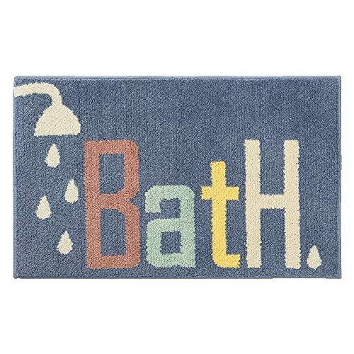 ElizaBath - Alfombrilla antideslizante para baño, diseño de palabras de dibujos animados, diseño de cabeza de baño y ducha
