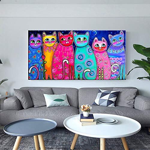 Cuadros Coloridos de la Lona del Gato para los Carteles y los murales de la habitación de los niños imágenes Art Deco decoración del hogar