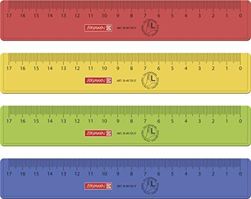Brunnen 104972517 Lineal für Linkshänder für Schule und Büro 17 cm, 4 verschiedene Farben)