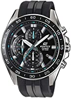 Casio EDIFICE Reloj en caja sólida de acero inoxidable, 10 BAR, Negro/Azul, para Hombre, con Correa de Resina,...