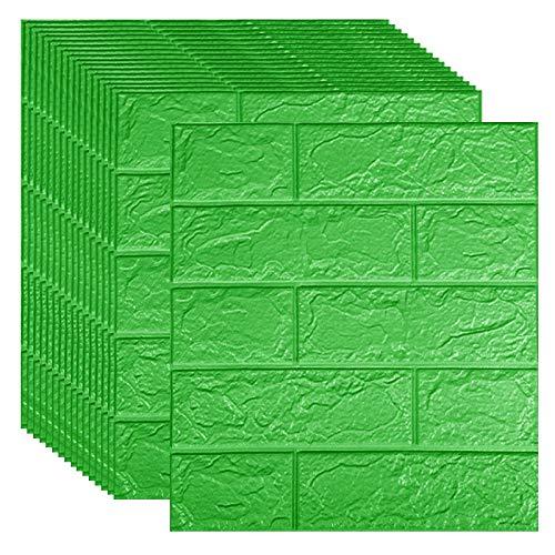 15/30 unids autoadhesivo 3D Pegatina de ladrillo DIY Fondo de pantalla de espuma impermeable para niños para niños Cocina Techo Techo Fondo Tapas de pared ( Color : Green , Size : 35x38.5cmx30pcs )