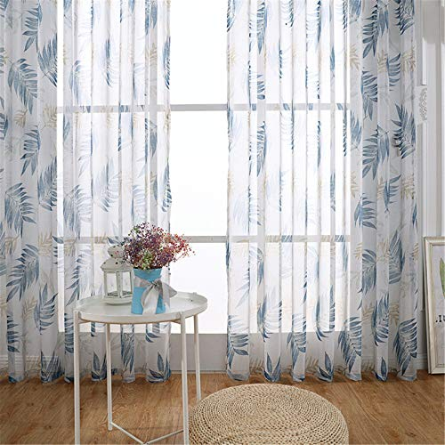 FACWAWF Home Chiffon Printed Gauze Curtain Living Room Bedroom Chiffon Sunshade French Window Screen Curtain 250x270cm(2pcs)