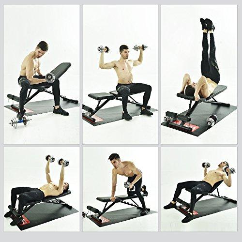FITMATEトレーニングベンチ腹筋フォールディングフラットインクラインベンチ折り畳みダンベルベンチブラック