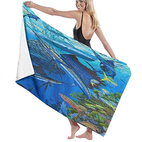 "ASDTF Large Soft Microfiber Toalla de baño Manta,Sailfish Reef,Bath Toalla de Playa for Family Hotel Travel Swimming Sports,52"" x 32"""