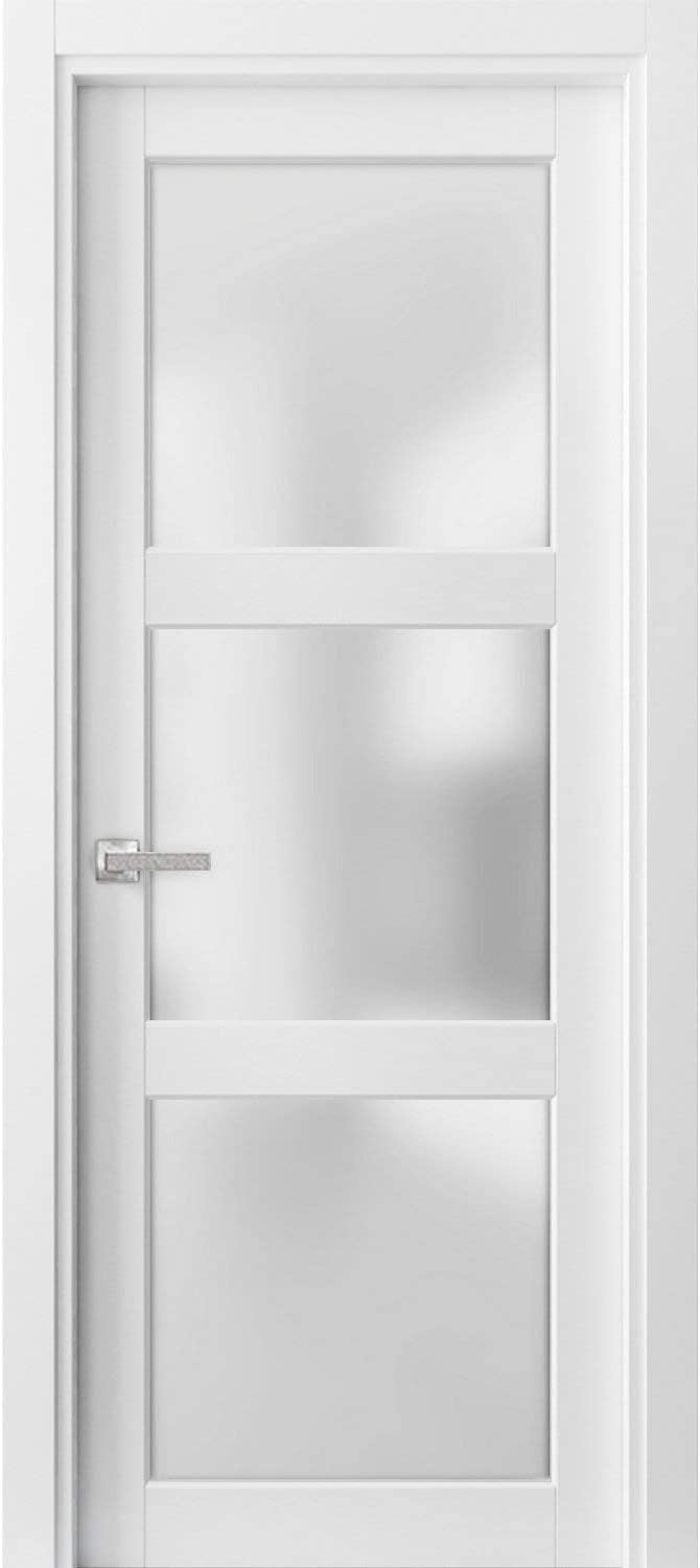 Solid French Door Frosted Glass 3 Lites inches 80 Lucia Clearance SALE! Limited time! 2 28 x 2021