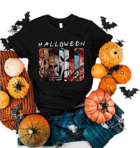 Friends Halloween Horror Shirt for Women Horror Movies Face Characters Graphic Novelty Night Spooky Horror Graphic Halloween Tee Tops (Black, XL)