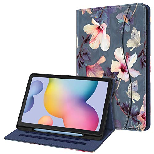 FINTIE Funda para Samsung Galaxy Tab S6 Lite de 10.4' con Portalápiz - [Multiángulo] Trasera de TPU Suave con Bolsillo Auto-Reposo/Activación para Modelo SM-P610/P615, Hibisco