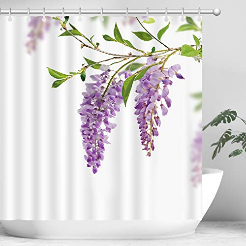 Hi Space Purple Flower Shower Curtain Set with 12 Hooks, Waterproof Bathroom Shower Curtain Sets, Decorative Purple Wisteria Flowers Curtain Set,72 x 72''