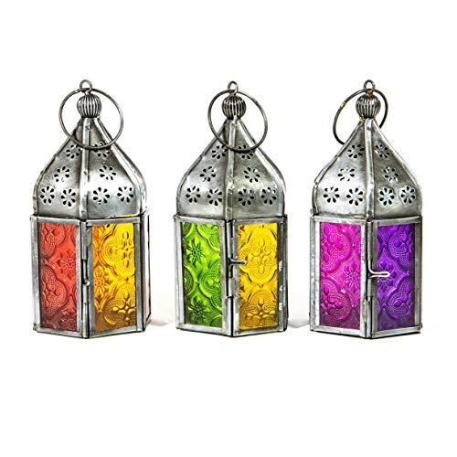 Indian Arts Set mit 3 Teelichtern im marokkanischen Stil aus Eisen und Glas