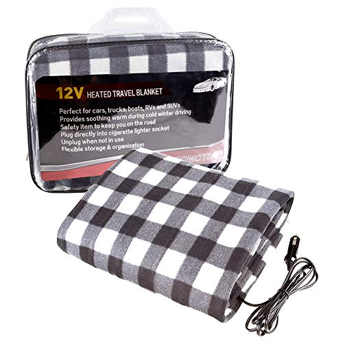 MAXTUF 12V Heated Blanket, Trunk Travel Electric Car Blanket Fleece Travel Throw for Car and RV with High/Low Temp Control Fitting Cold Days and Nights Road Trip