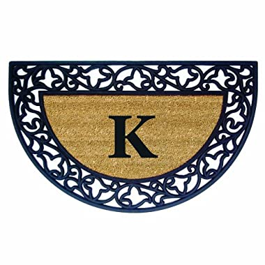 Nedia Home Acanthus Border with Half Round Rubber/Coir Doormat, 22 by 36-Inch, Monogrammed K
