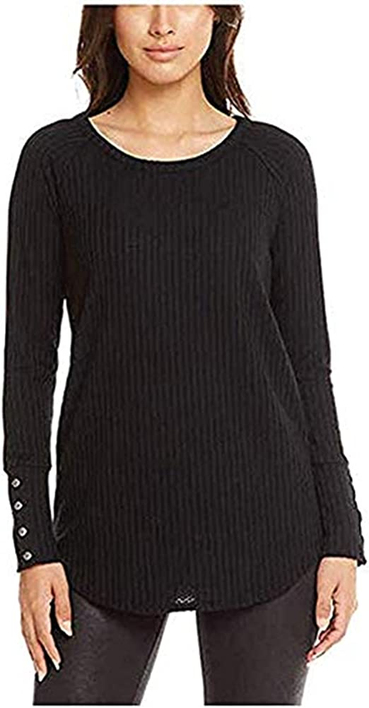CHASER Ladies' Long Sleeve Waffle Thermal Tunic Sweater Top