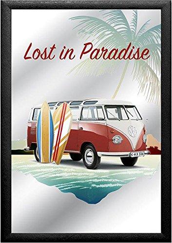 empireposter Volkswagen Lost in Paradise – Bulli – afmetingen (cm), ca. 20x30 - Bedrukte spiegel, NIEUW - beschrijving: - Bedrukte wandspiegel met zwart kunststof frame in houtlook -