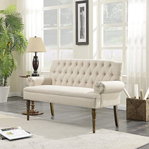 Best BELLEZE Button Tufted Mid-Century Settee Upholstered Vintage Sofa Bench with Linen Fabric Wood Legs,