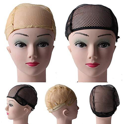 Capuchon de perruque 10Pcs Capuchon de perruque réglable Noir Beige Respirant Nylon Tissage Mesh Cap perruque Filets à cheveux avec bretelles en dentelle 2 couleurs