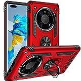 Fetrim Hülle Kompatibel für Huawei Mate 40 PRO, stoßfest Schutzhülle mit Drehring Ständer für Huawei Mate 40 PRO rot