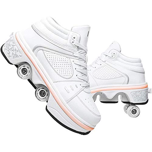 ZHANGYY Multifunctional Deformed Shoes,Children Students Adult Roller Skating Roller Skates,Outdoor Sports Skating Travel Best Choice,White-36