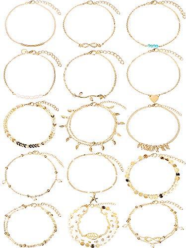 15 Stücke Boho Fußkettchen Ketten Armbänder Einstellbar Strand Fußkettchen Fußschmuck Set für Damen Mädchen (Gold)