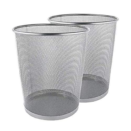 Runder Bürokorb, leichter Papierkorb aus Metallgitter, Mülleimer, Müll- und Mülleimer für Schlafzimmer, Küche, Bad, Büro & Schule 2er-Set (Silber)