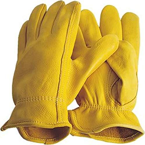 Hirschleder Handschuhe Premium Reithandschuhe Western Cowboy, Gelb / Beige, M = 9