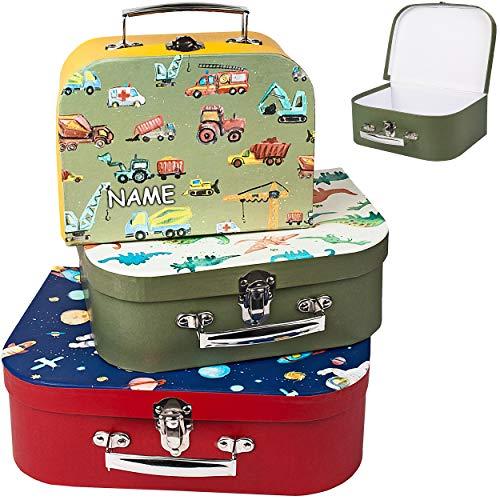 alles-meine.de GmbH Kinderkoffer / Koffer - KLEIN - Weltall - Dinosaurier - Fahrzeuge - incl. Name - für Spielzeug und als Geldgeschenk - Mädchen & Jungen - Kinder & Erwachsene -..