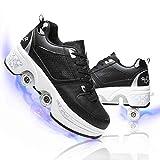 LMHX Zapatos de Patinaje de Rodillos, Zapatos de Patinaje retráctiles Zapatos para Caminar automáticos, Zapatos para Adultos Zapatos de Skateboarding Unisex