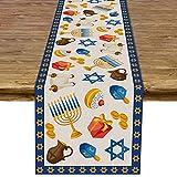 Pudodo Hanukkah Table Runner Chanukah Menorah Dreidel Table Decor Jewish Festival Holiday Party Kitchen Dining Home Decorations