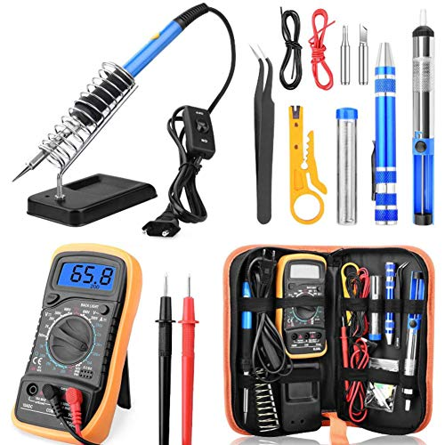 Soldering Iron Kit, 14 Pcs/Set 60W Soldering Gun Kit Best for Electric, Jewellery & Welding Work – Digital Multimeter, Screwdiver, Soldering Iron Holder