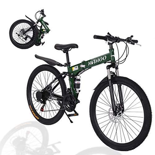 "MTFITNESS 26"" Full Suspension Mountain Bike 21 Speed Folding Non-Slip Bicycle Men or Women Green"